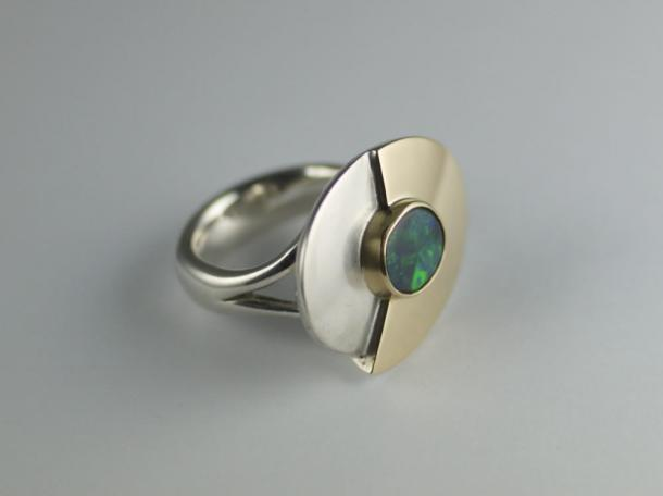 Ring - Sterling Silver, 18ct gold and solid black opal