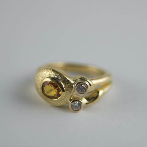 Golden Sapphire and Diamond ring