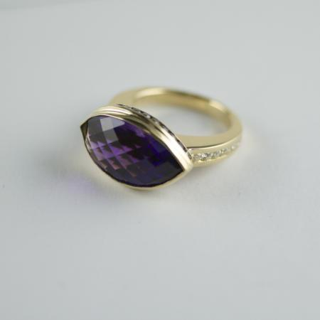 Amethyst, white and black Diamond ring