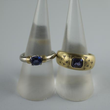 Blue and Purple Sapphire rings in yellow gold