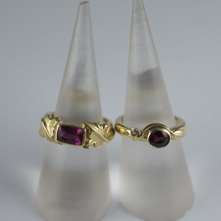 Madagascan Ruby carved 18ct god ring.African ruby ,diamond 18ct gold ring