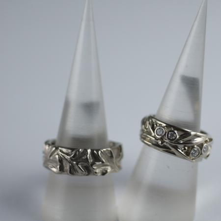 Diamond rings Carved and fabricated