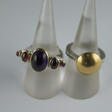 Amethyst,garnet silver and gold rings