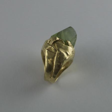 Peridot crystal 18ct gold