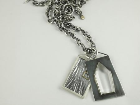 Window  pendant & chain . Sterling Silver, 18ct gold ,Crystal