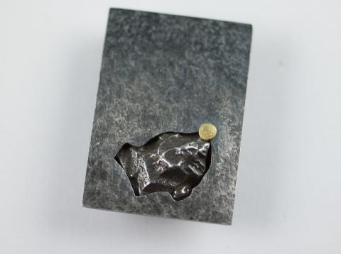 Silver, Meteorite pendant with Gold disc