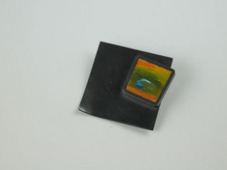 Oxidized Silver brooch with Painted square