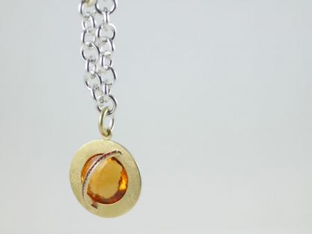 Pendant Citrine banded by Red Spinels set in 18ct Gold and Sterling Silver