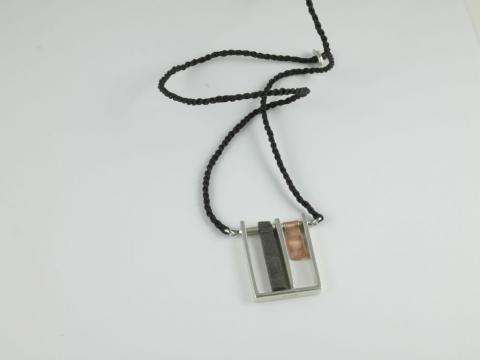 Meteorite Silver & Pink Gold necklace on cord
