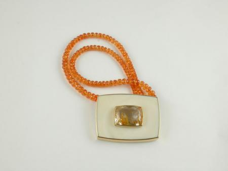 Necklace Rutilated Topaz in 22ct Gold framed by Ivory on Spessartite Garnet beads