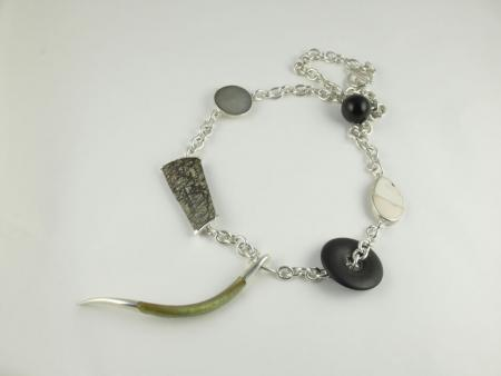 Necklace with Golden Coral ,Mother of pearl, Onyx and Buffalo horn in Sterling silver