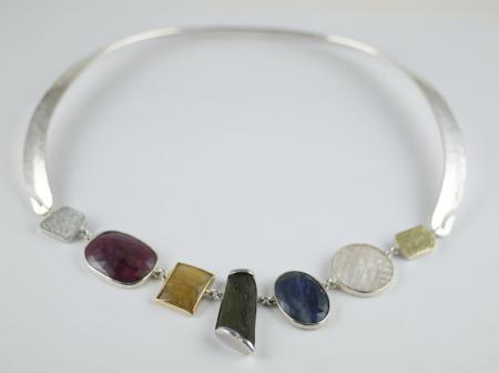 Multicolored Sapphires, Mother of Pearl, Gold disc on forged silver necklace