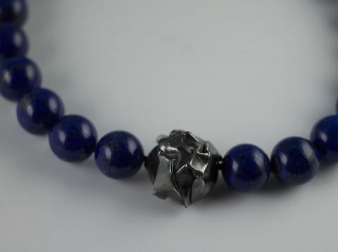 Lapis Lazuli beads and scrunched Silver centre piece