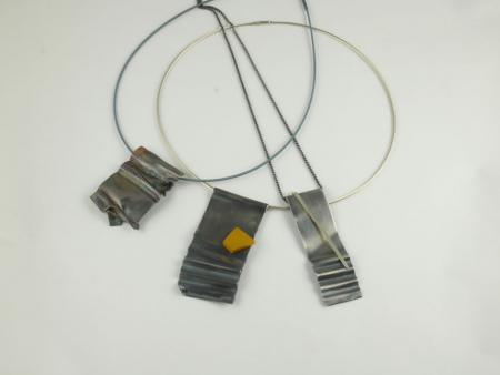 Corrugated pendants, Silver, Titanium