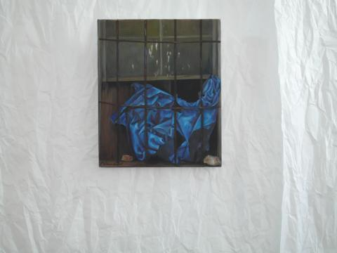 Blue paper in barred window .Oil on canvas