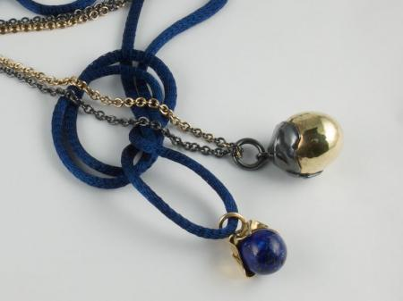 14ct YG & Stg Silver Scrunched bead on gold and silver chainLapis Lazuli Gold pendant