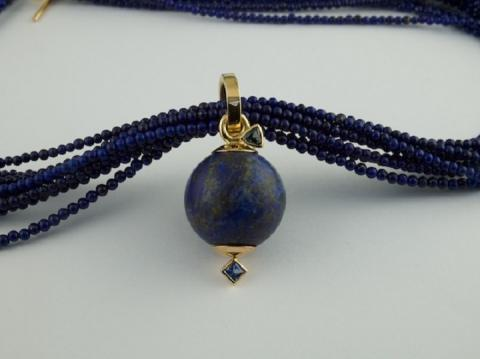Lapis lazuli necklace and bead with blue and green Sapphires
