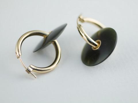Australian black Jade on gold hoops