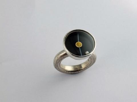 Black onyx, pearl, silver and gold