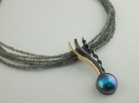Abalone mabe pearl and Labradorite beads