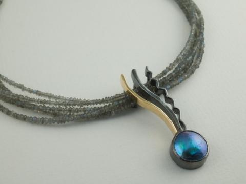 Abalone mabe pearl and Labradorite beads