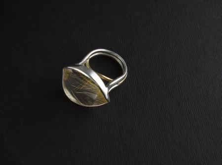 Gold Rutile in laser cut Quartz set in silver and gold
