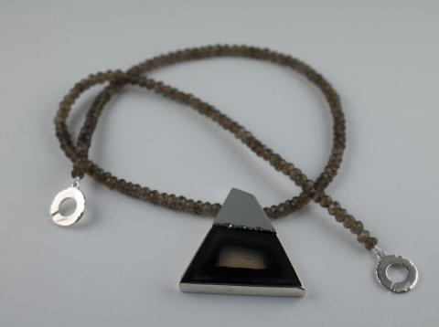 Agate set in silver with smokey quartz beads