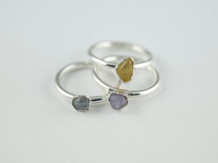 Sapphire crystals in sterling silver
