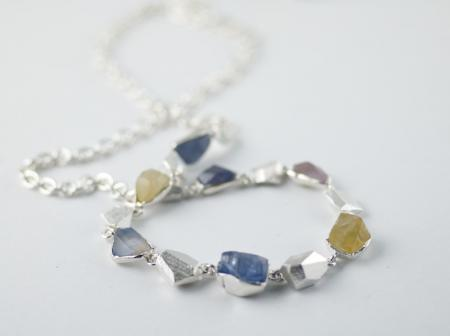 Sapphire crystals set in Silver