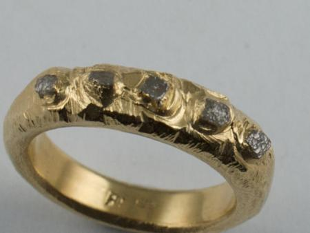 Diamond crystals set in 18ct gold