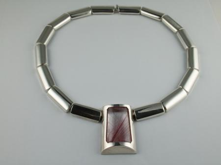 Silver and Rutilated Quartz hinged necklace