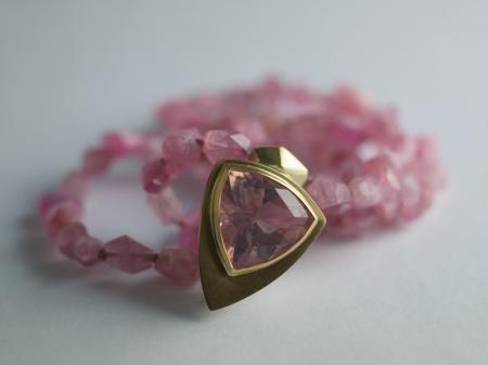 Rose Quartz trilliant on Tourmaline beads