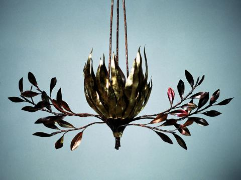 Light burning bush with olive branches, copper repousse