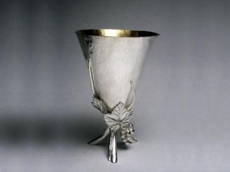 Kiddush cup silver raised with repousse vine leaves
