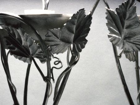 Sabbath candle sticks in silver fabricated and repousse ,detail