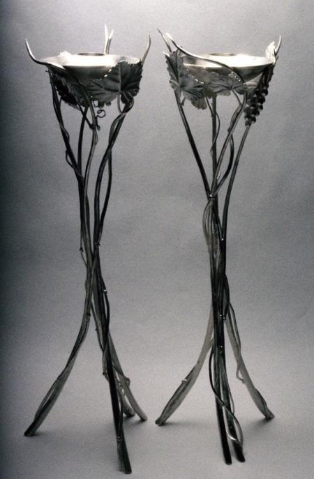 Sabbath candle sticks in silver with repousse leaves