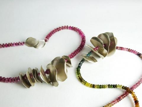 Silver rose petals threaded on pink and multicolour Tourmaline beads