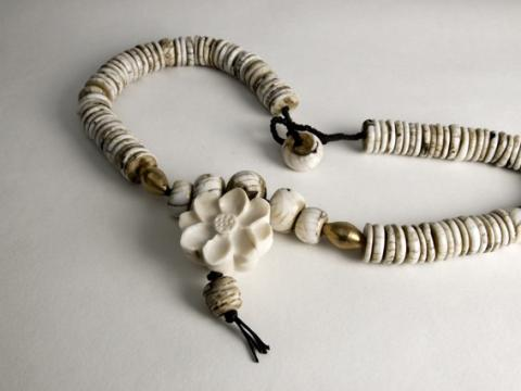 Necklace carved Ivory lotus and conch beads