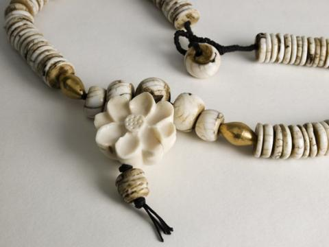 Mala with Lotus carved Ivory and Conch shell