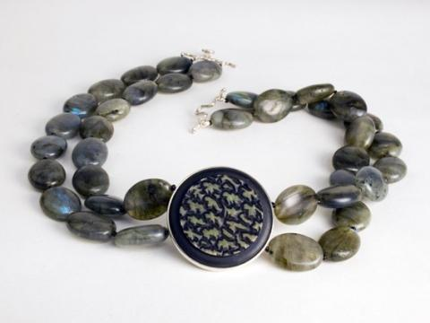 Carved wood and Labradorite beads