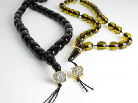 """Copal beads and central bead with ancient Greek inscription """"Love Others"""""""