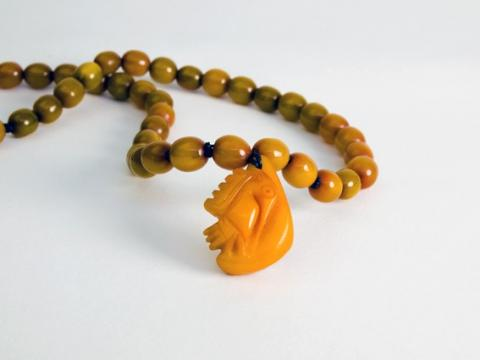 Carved Amber on Amber beads