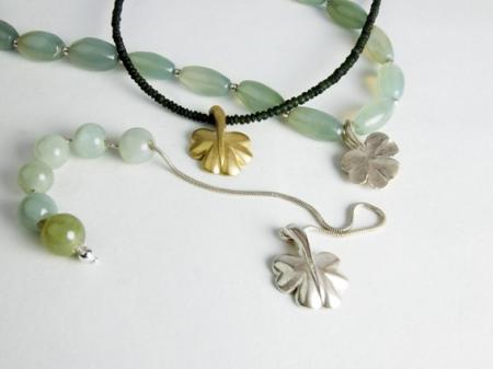 Silver and Gold shamrocks with Jade