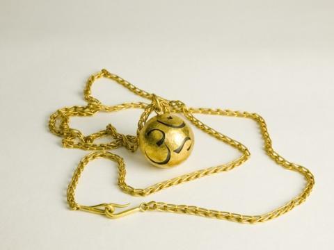22 gold bead on handmade chain