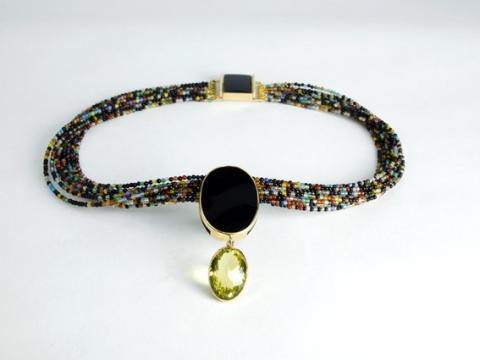Necklace Lemon Quartz and Onyx on Agate beads