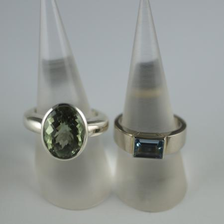 Aquamarine and praisialite silver and gold Rings
