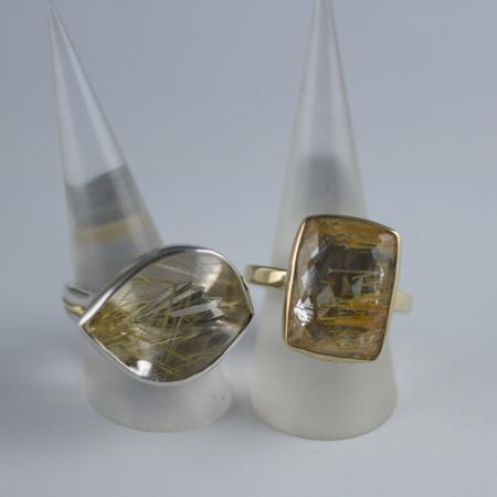 Rutilated Quartz and Topaz Rings