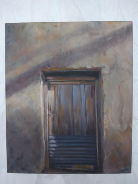 Corrugated Door. Oil on canvas
