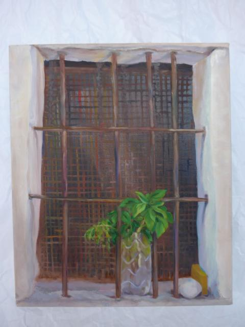 Basil in barred window. Oil on canvas