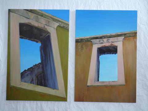 Windows Kalamoti, Greece.  Oil on canvas